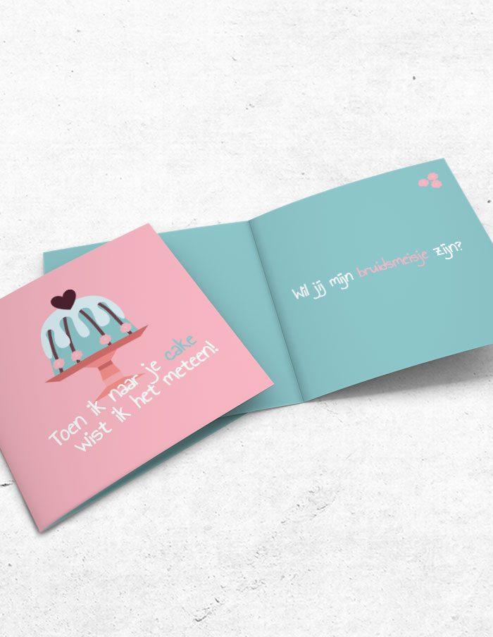 Bruidsmeisjeskaart cake voor-binnenzijde