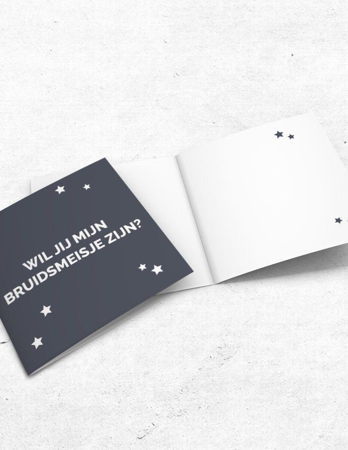 Bruidsmeisjeskaart stoer grijs binnen-voorzijde