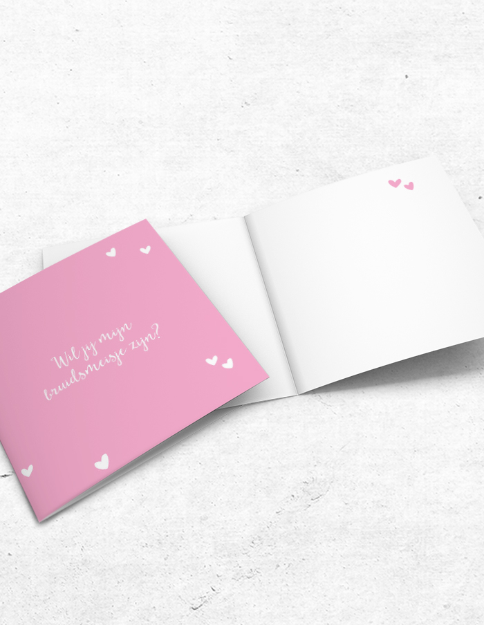 Bruidsmeisjeskaart lief roze voor-binnenzijde