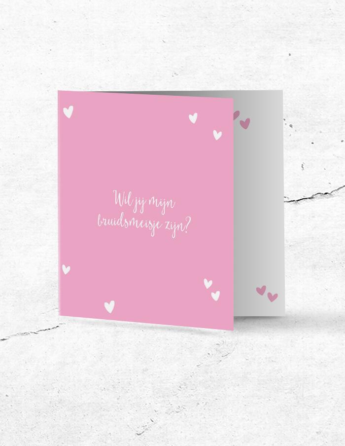 Bruidsmeisjeskaart lief roze voorzijde