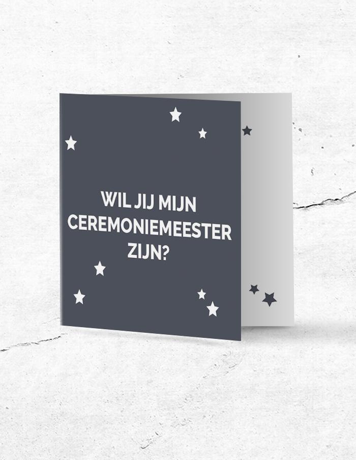 Ceremoniemeesterkaart stoer grijs voorzijde