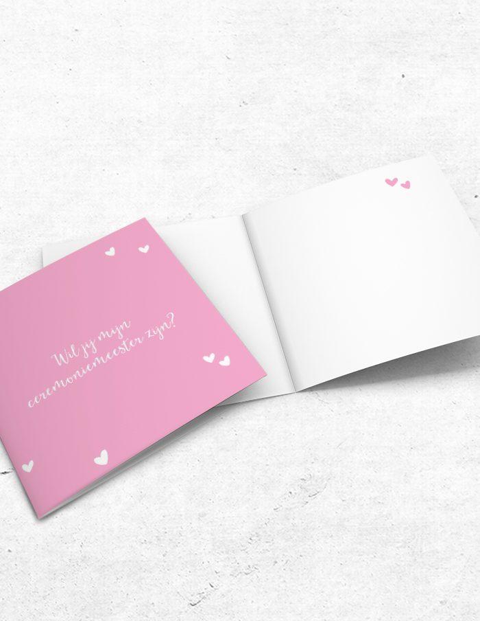 Ceremoniemeesterkaart lief roze binnen-voorzijde