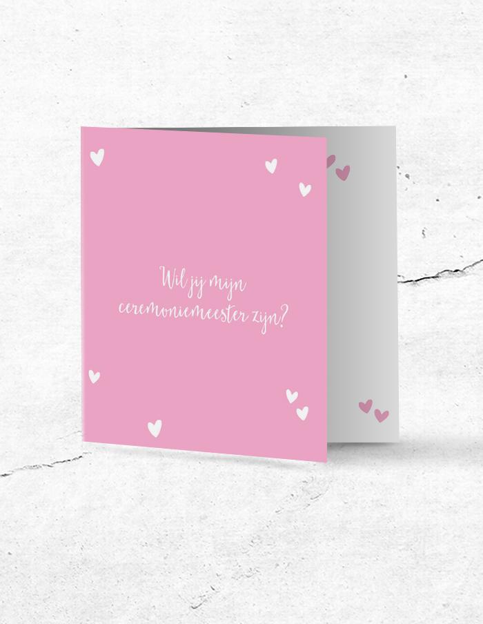 Ceremoniemeesterkaart lief roze voorzijde