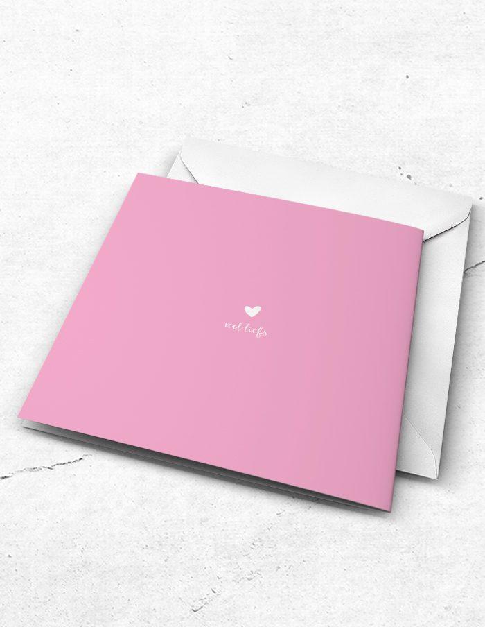 Getuigekaart roze lief achterzijde