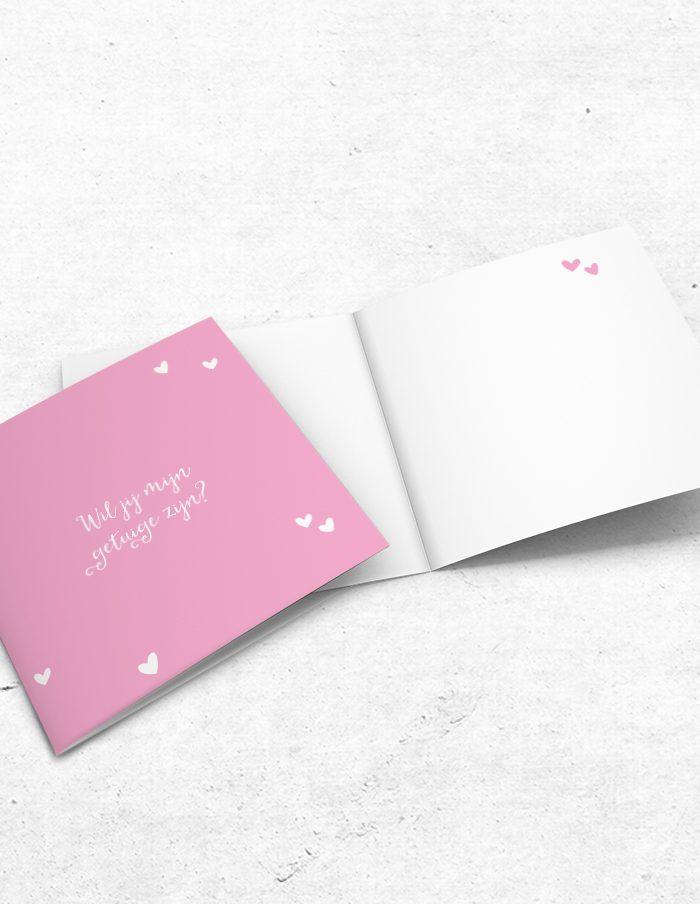 Getuigekaart roze lief voor- en binnenzijde