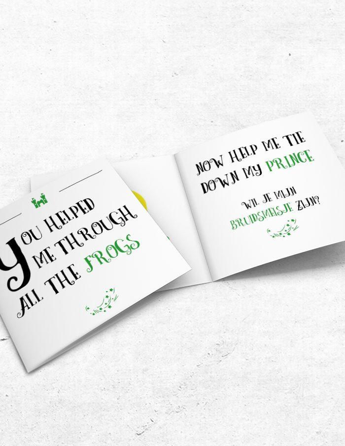 Bruidsmeisjeskaart Prince & Frog voor-binnenzijde