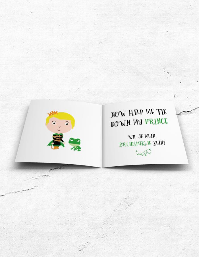 Bruidsmeisjeskaart Prince & Frog binnenzijde