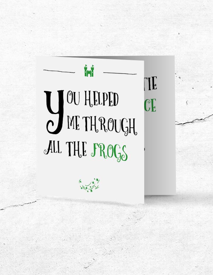 Bruidsmeisjeskaart Prince & Frog voorzijde