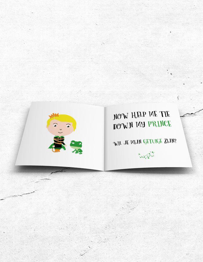 Getuigekaart Prince & Frog binnenzijde