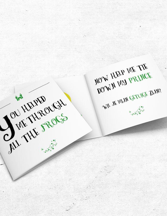 Getuigekaart Prince & Frog voor- en binnenzijde