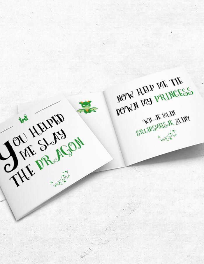 Bruidsmeisjeskaart Princess & Dragon voor-binnenzijde