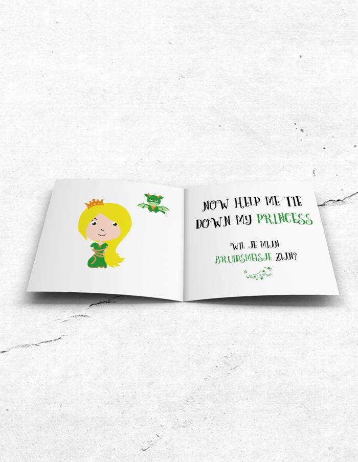 Bruidsmeisjeskaart Princess & Dragon binnenzijde