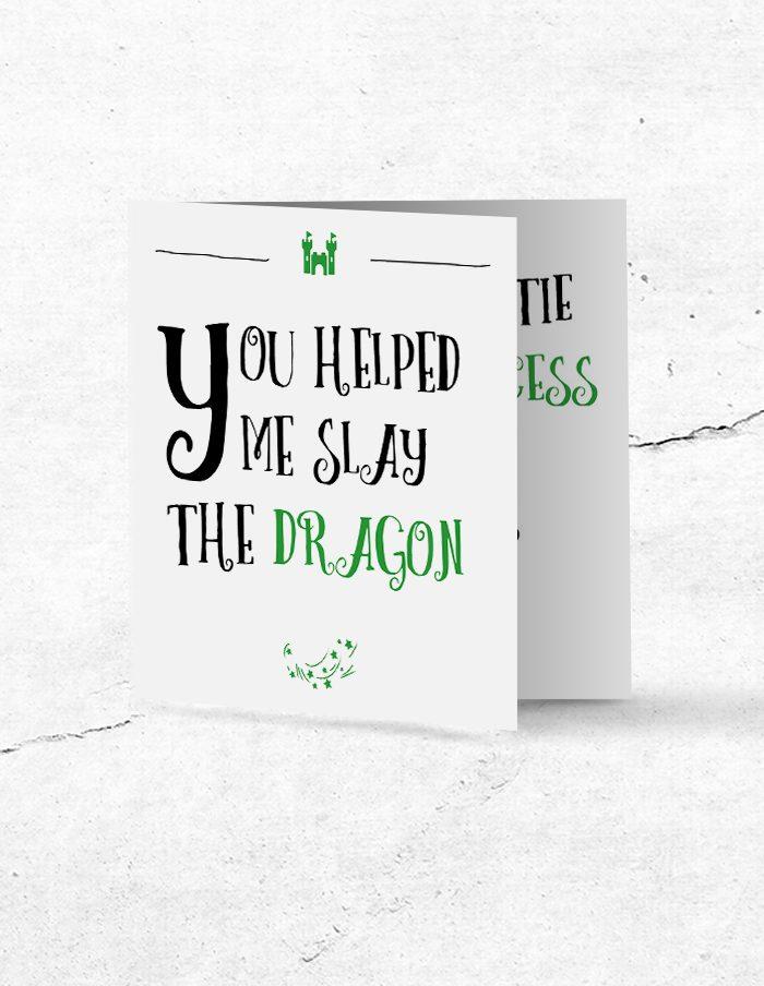 Bruidsmeisjeskaart Princess & Dragon voorzijde