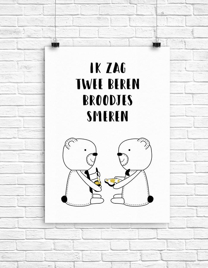 Poster Ik Zag Twee Beren
