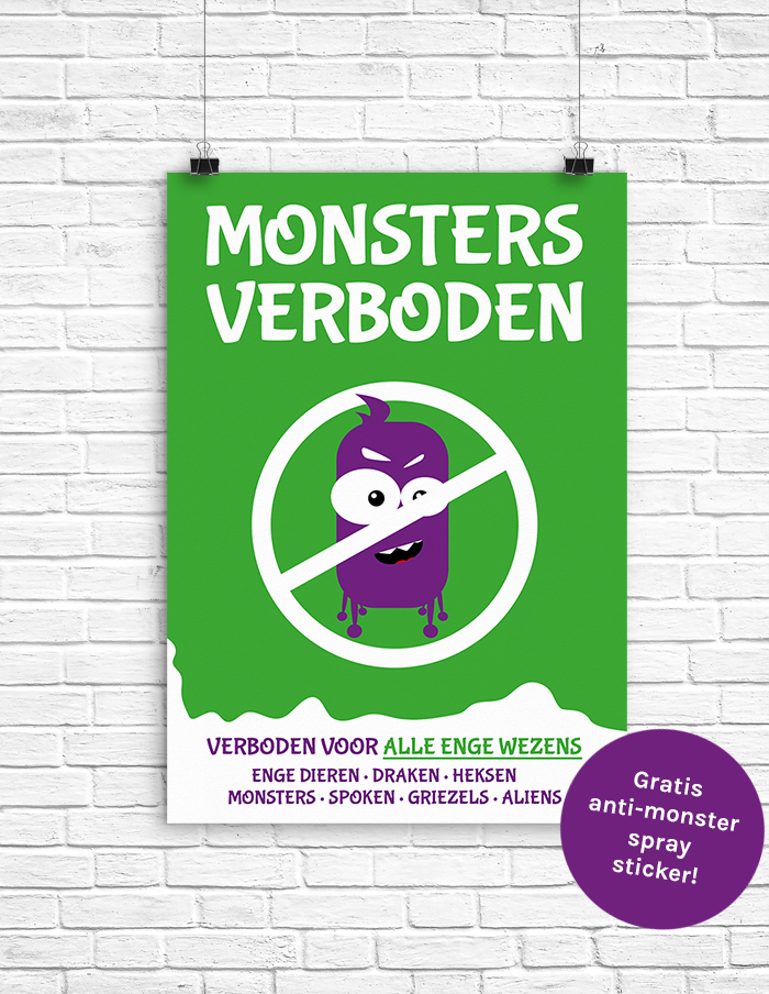 Poster monsters verboden - anti monster poster - gratis anti monster spray sticker